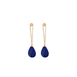 The Chain and Stone Earrings - Lapis