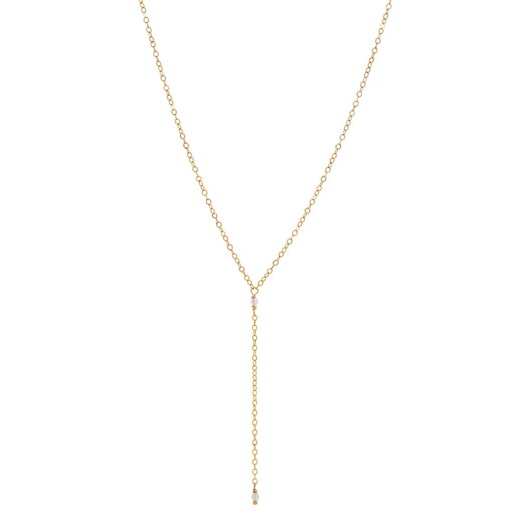 The Dainty Lariat Necklace - Rainbow Moonstone