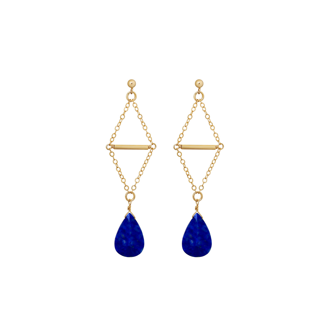 The Double Triangle Earrings - Lapis