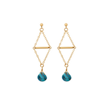 The Double Triangle Earrings - Turquoise