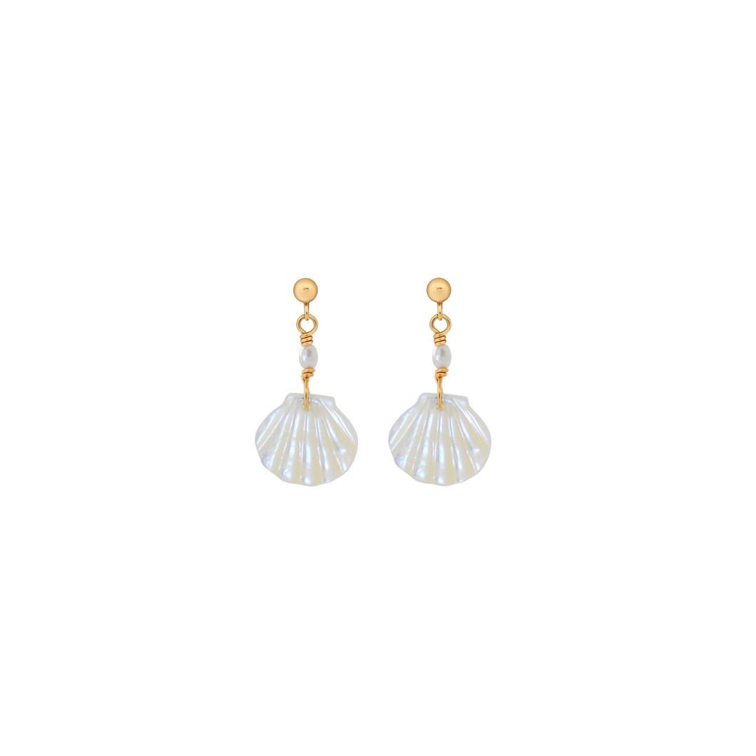 The Shell Earrings - White Pearl