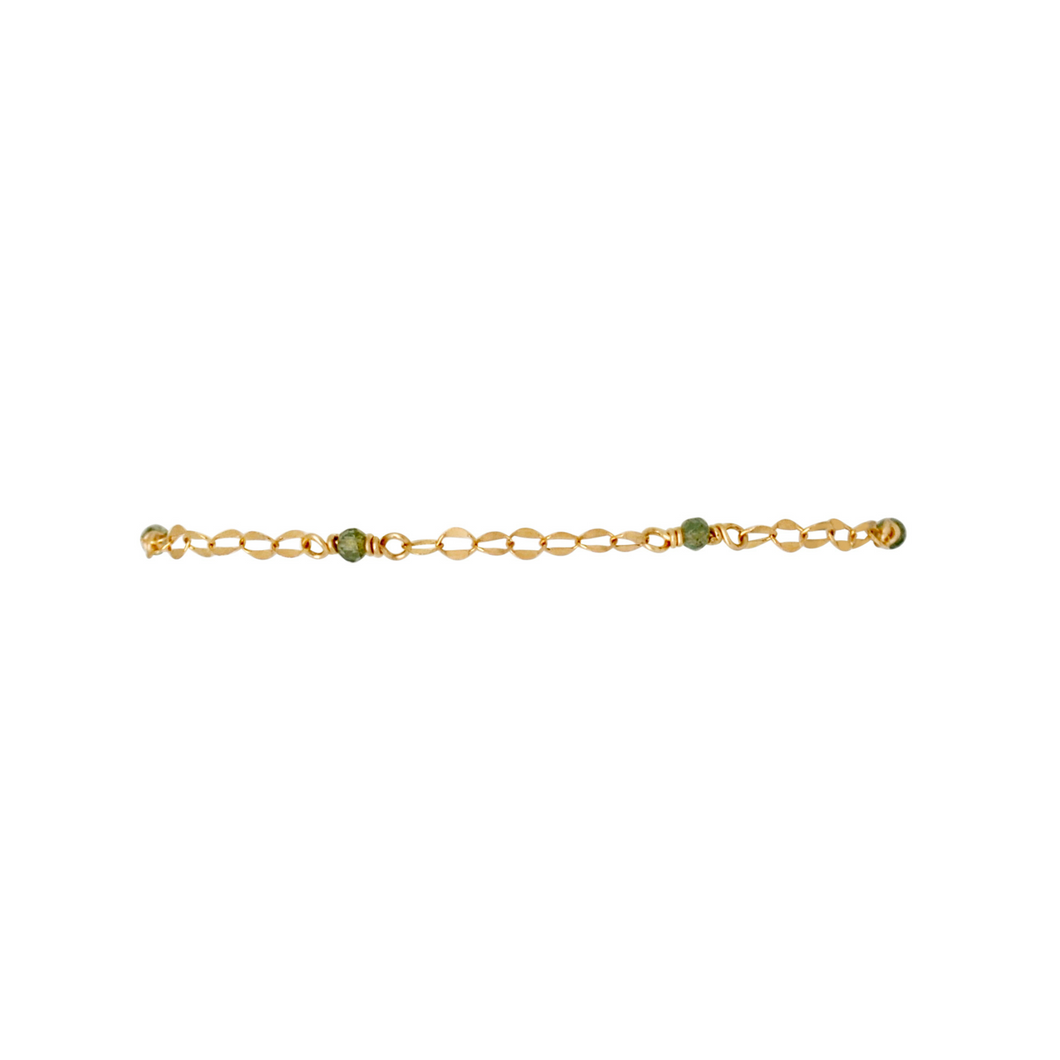 The Shimmer Oval Link Bracelet - Green Strawberry Quartz
