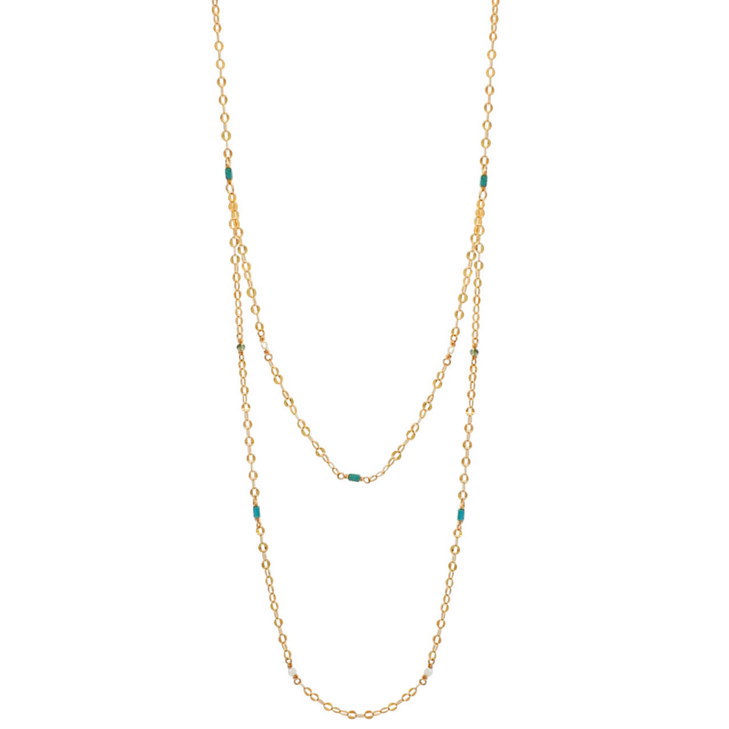 The Shimmer Oval Link Draped Necklace - Multi Stone