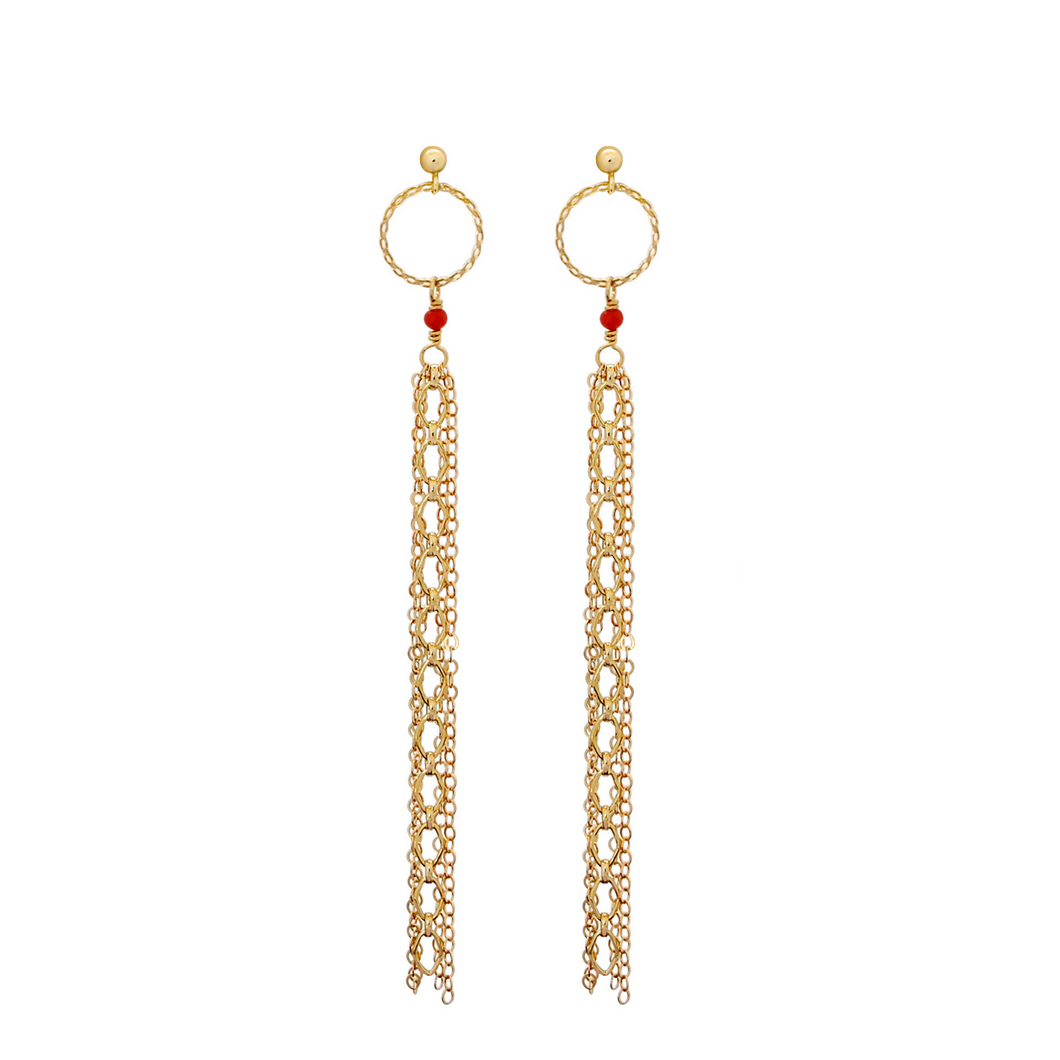 The Sultry Shoulder Duster Earrings - Coral
