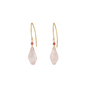 The Hook Earrings - Rose Quartz