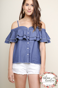 Sweetheart Chambray Top