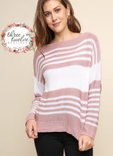 Dusty Rose Stripe Sweater