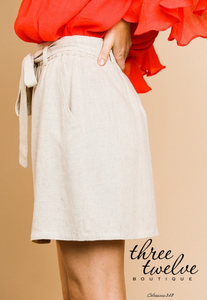 Oatmeal Linen Paper Bag Skirt
