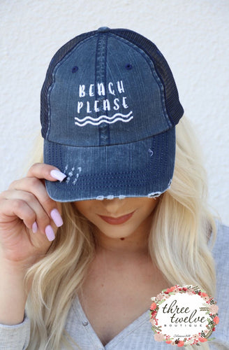 Beach Please Snap Back