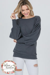 Brushed Charcoal Bubble Sleeve Sweater