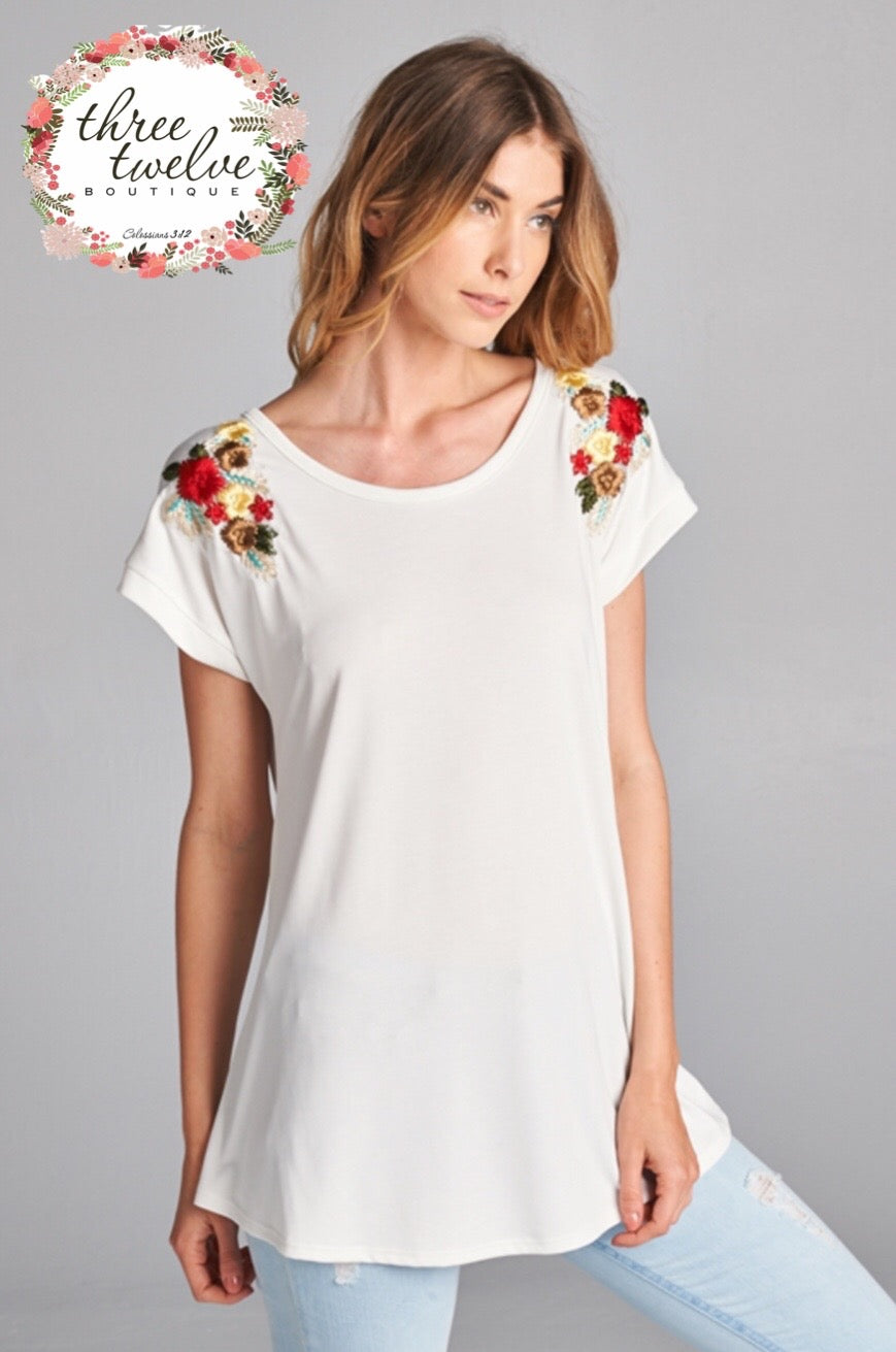 Le Jardin Embroidered Tee