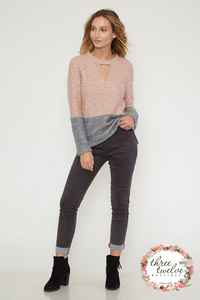 Blushing Color Block Sweater