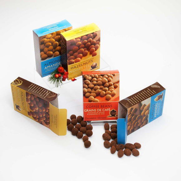 Chocolate Covered Almonds, Hazelnuts and Coffee Beans
