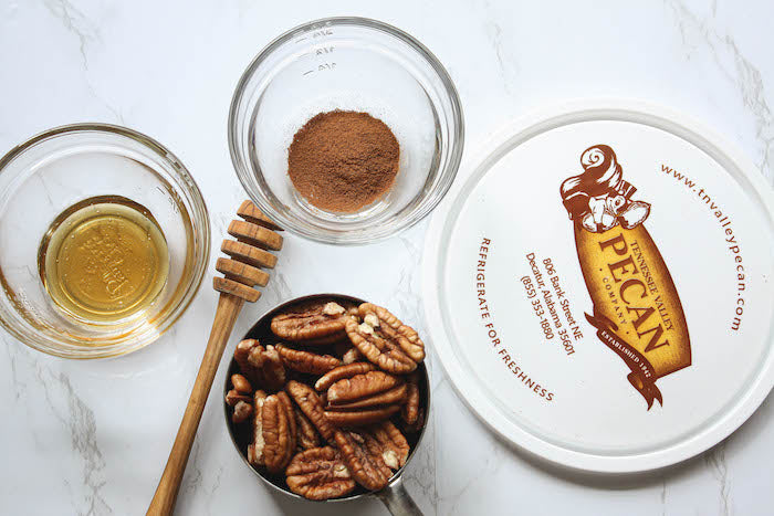 Ingredients for honey cinnamon roasted pecans | Tennessee Valley Pecan Company