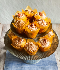 Pecan Cupcakes Cinnamon Buttercream Frosting | Pecan Recipes | The Perks of Being Us | Tennessee Valley Pecan Company