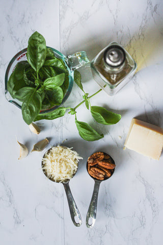 individual ingredients for pecan pesto | Tennessee Valley Pecan Company