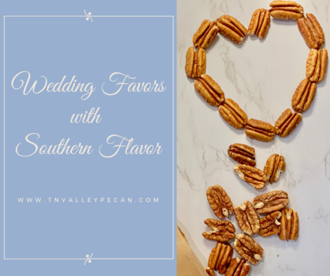 """Wedding Favors with Southern Flavor"" next to pecans arranged in a heart on table"