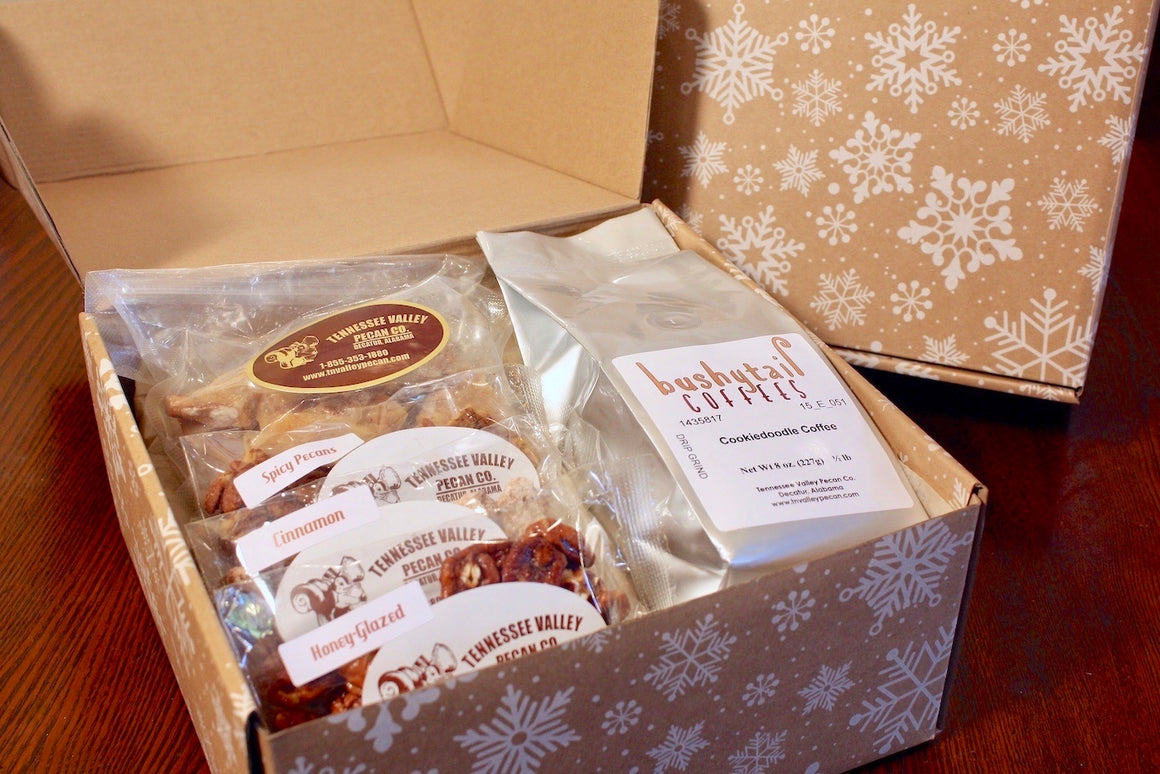 Snowflake Pecan and Bushytail Coffee Gift Box | Tennessee Valley Pecan Company