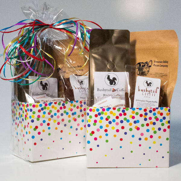 Confetti Gift Basket Box filled with gourmet pecans and Bushytail Coffee