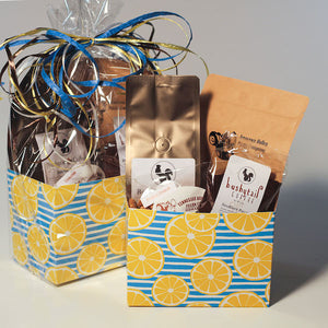 Image of lemon gift basket box with gourmet pecans and coffee | Tennessee Valley Pecan Company