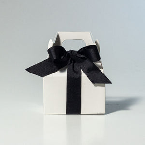 mini white gable box with black ribbon | Tennessee Valley Pecan Company