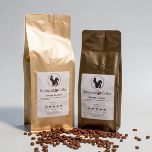 1/2 lb. and 1 lb. bags Orange Coconut coffee | Bushytail Coffee
