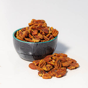 spicy pecans in bowl | gourmet pecans | Tennessee Valley Pecan Company