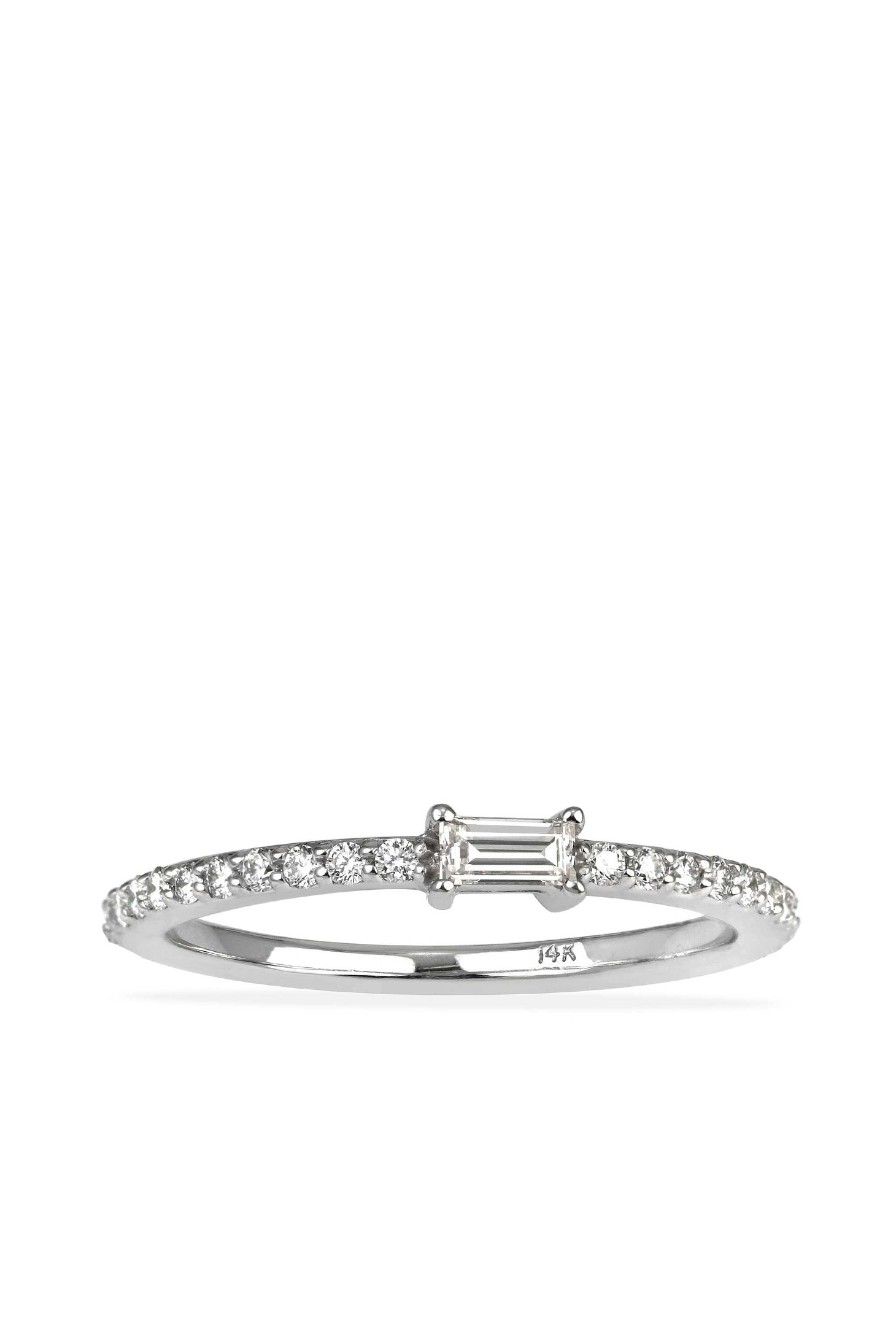Esmerelda Ring in solid 14k white gold with white diamonds view 1