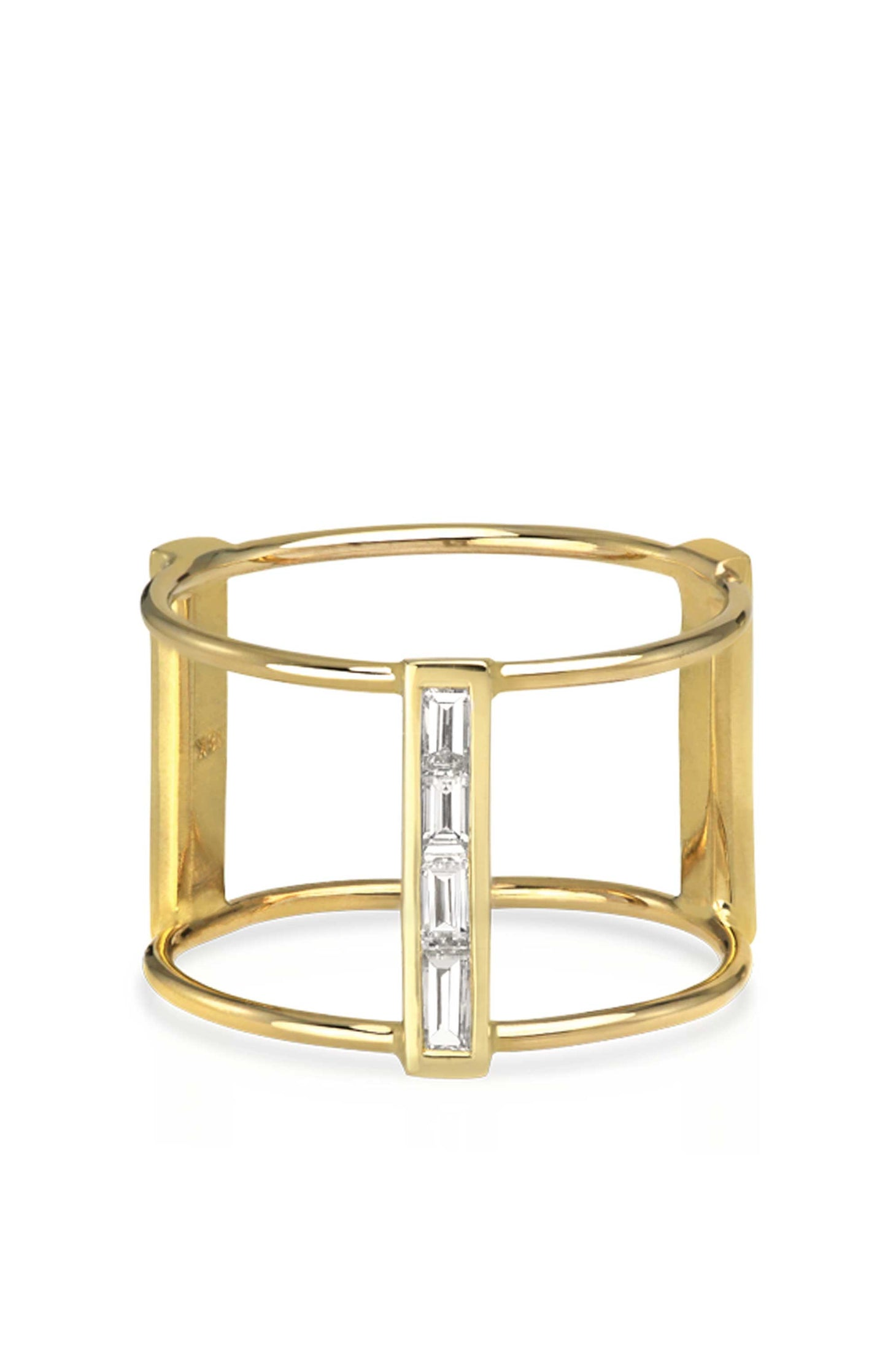 Gold Baguette Diamond Bar Ring
