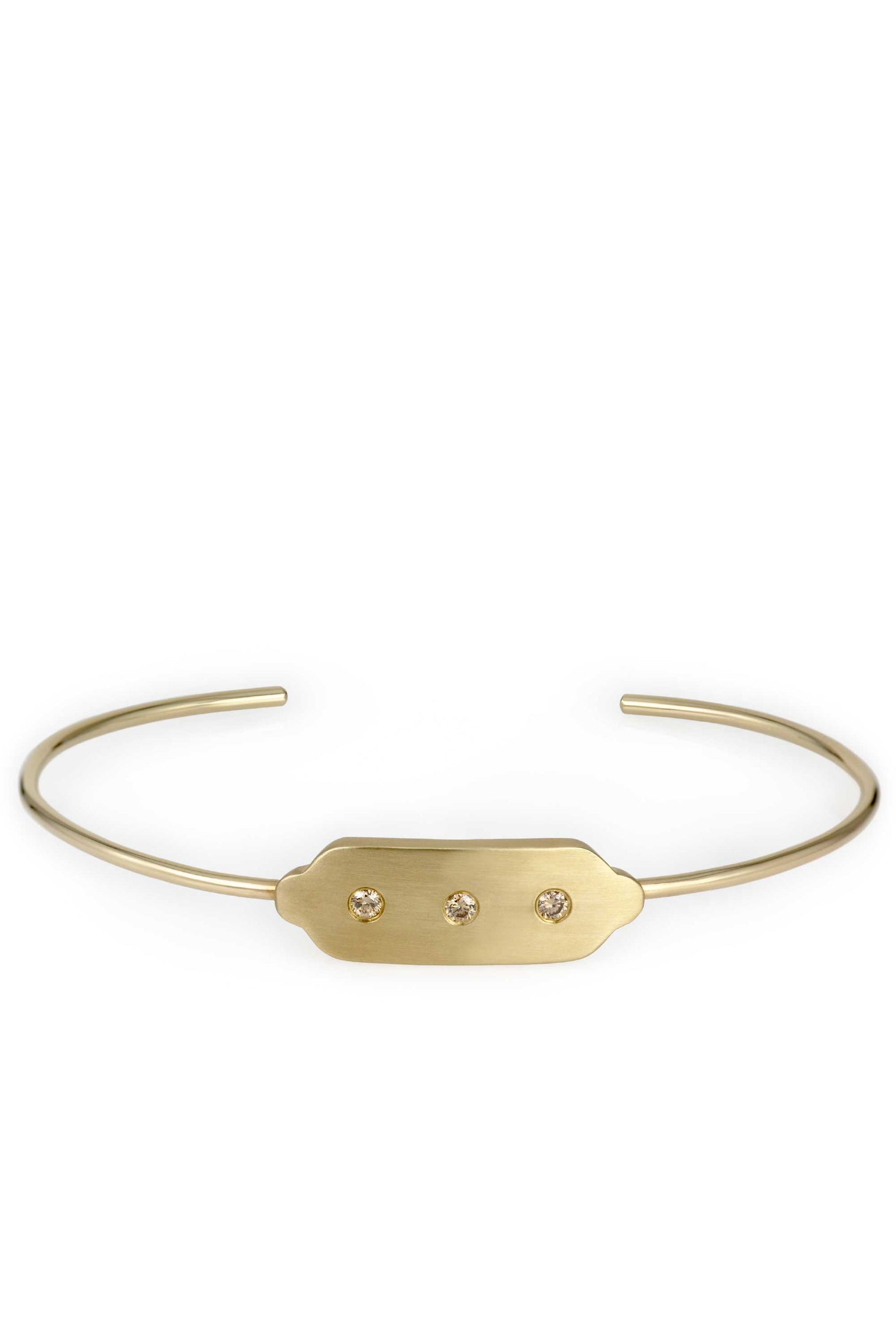 ID Bracelet in solid 14k recycled yellow gold with champagne diamonds