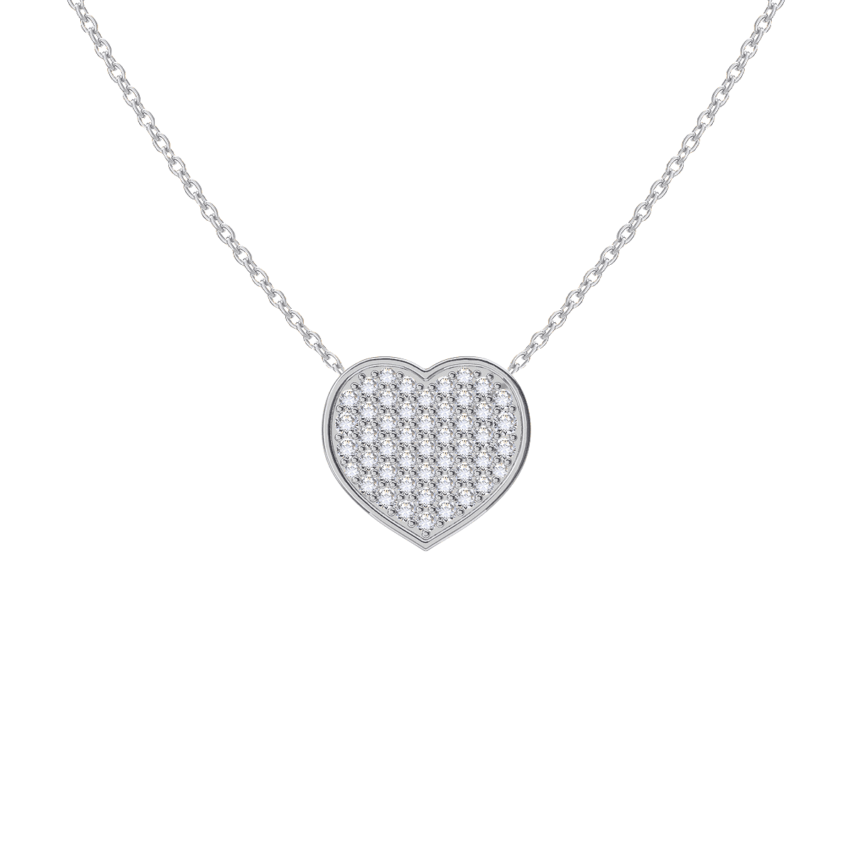 Moyen Pave Heart Necklace