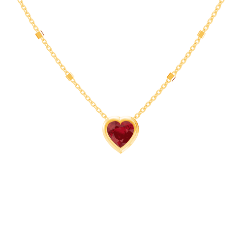 Ruby Bezel Heart Necklace (One of a Kind)