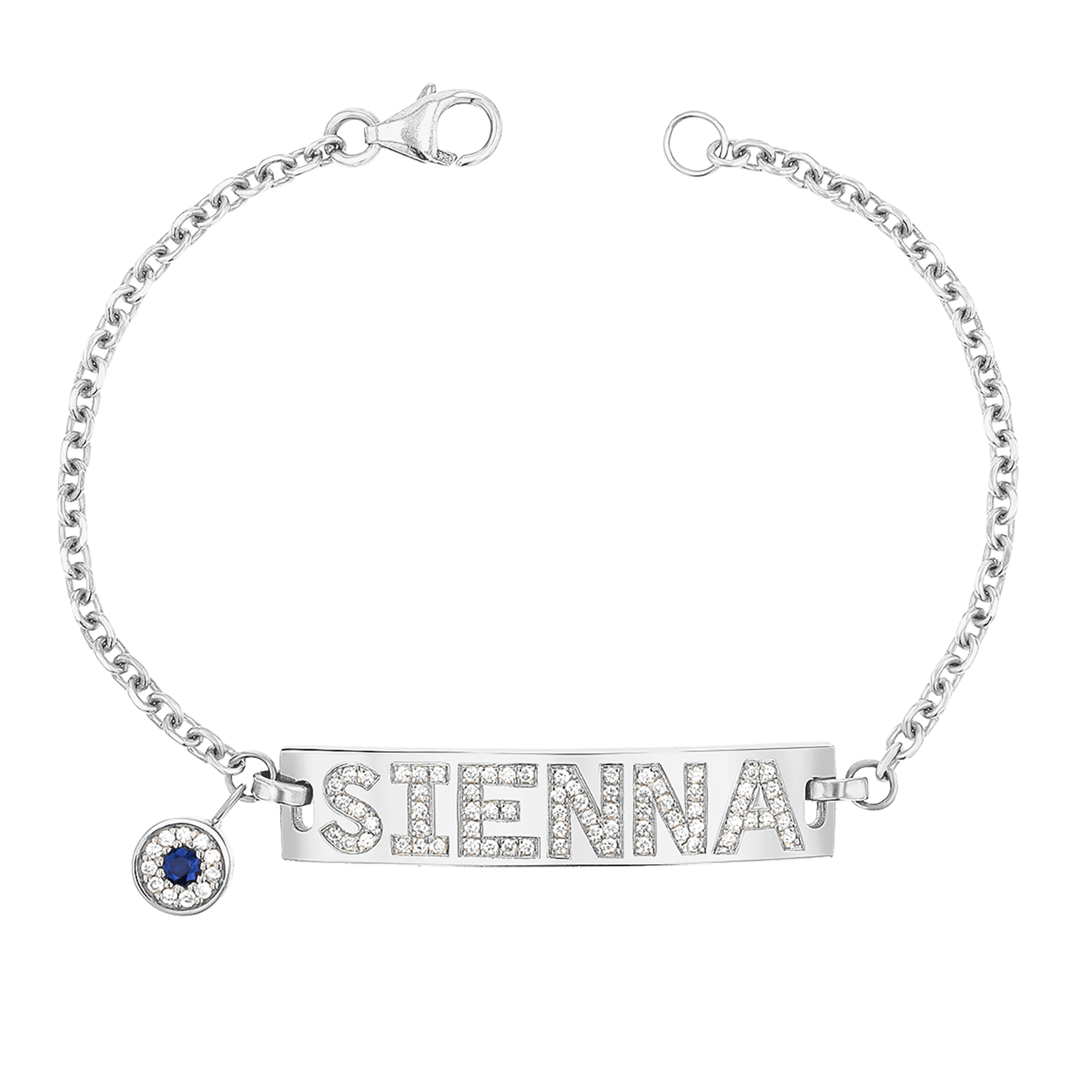 Custom Diamond Bar Bracelet With Evil Eye
