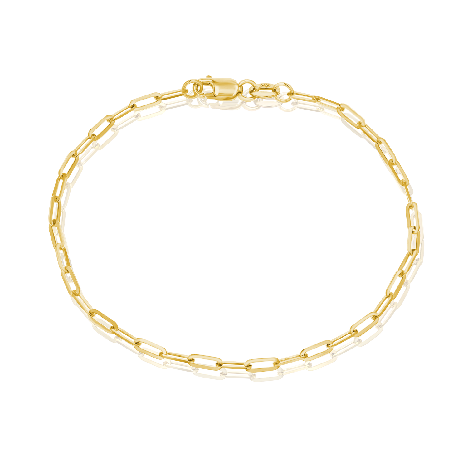14K Diamond Cut Oval Link Bracelet