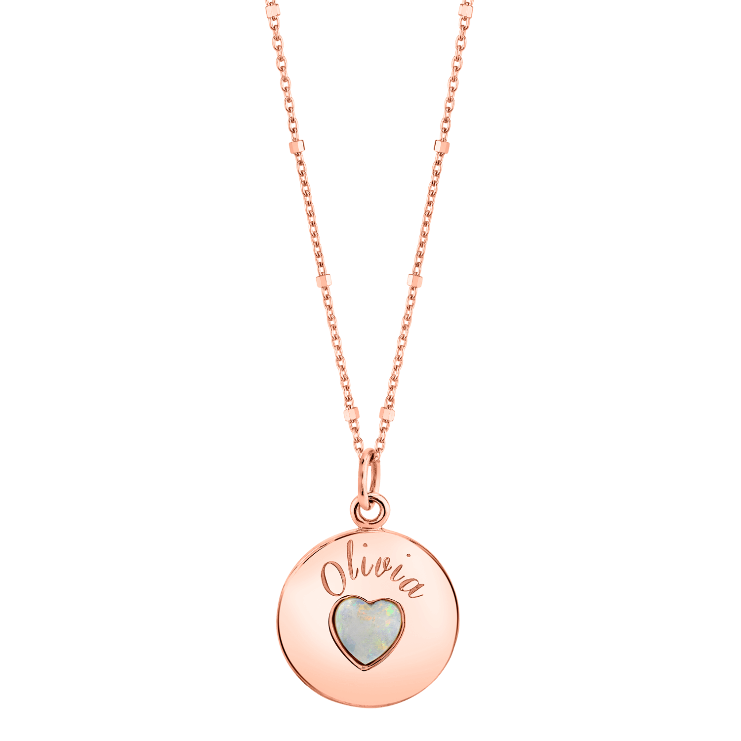 Grand Opal Heart Name Medallion