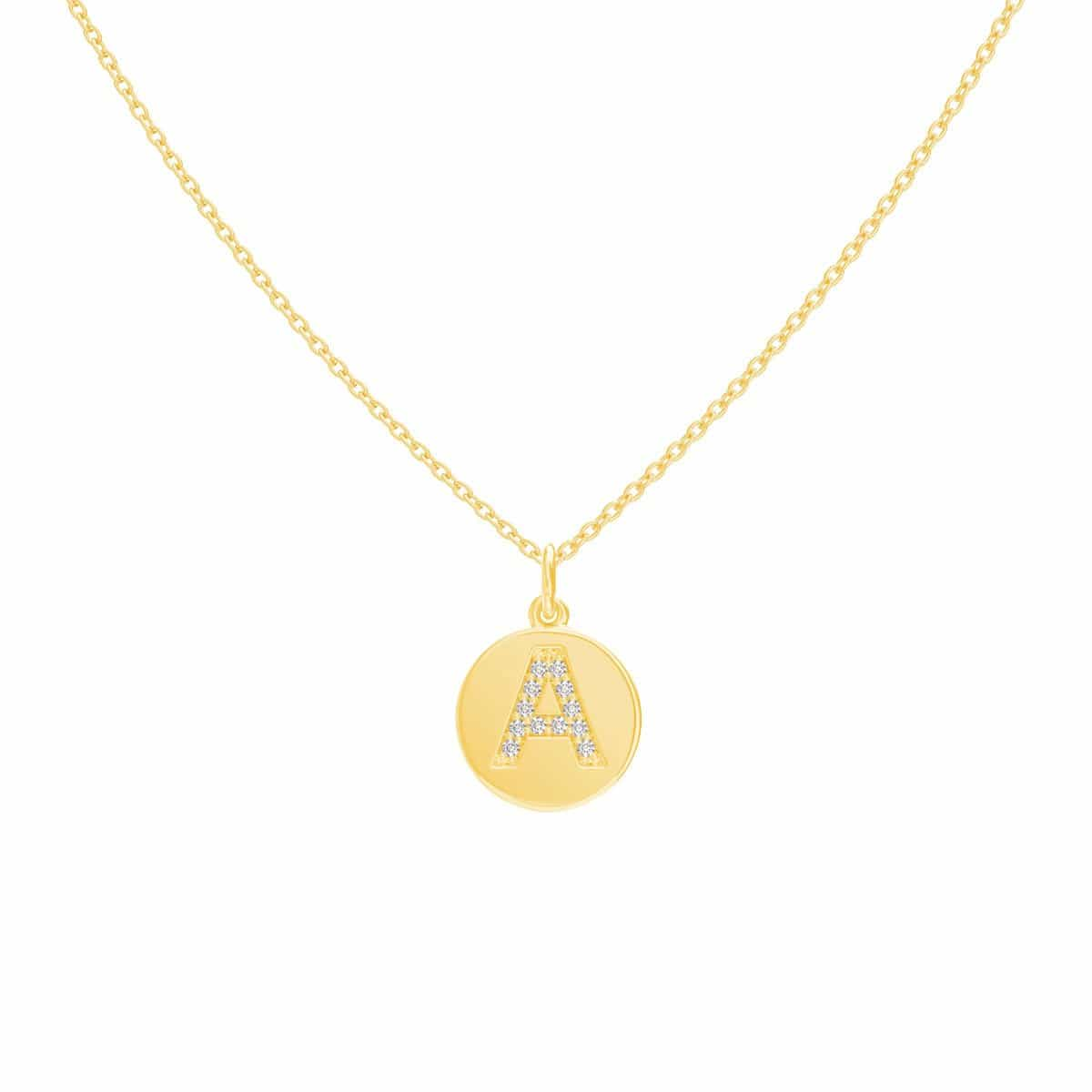 Moyen Pave Initial Coin Necklace