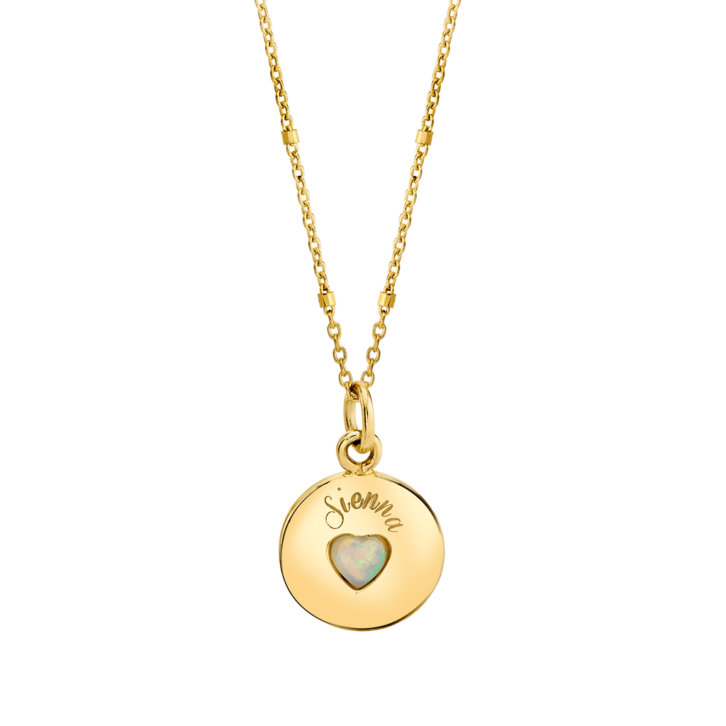 Opal Heart Name Medallion