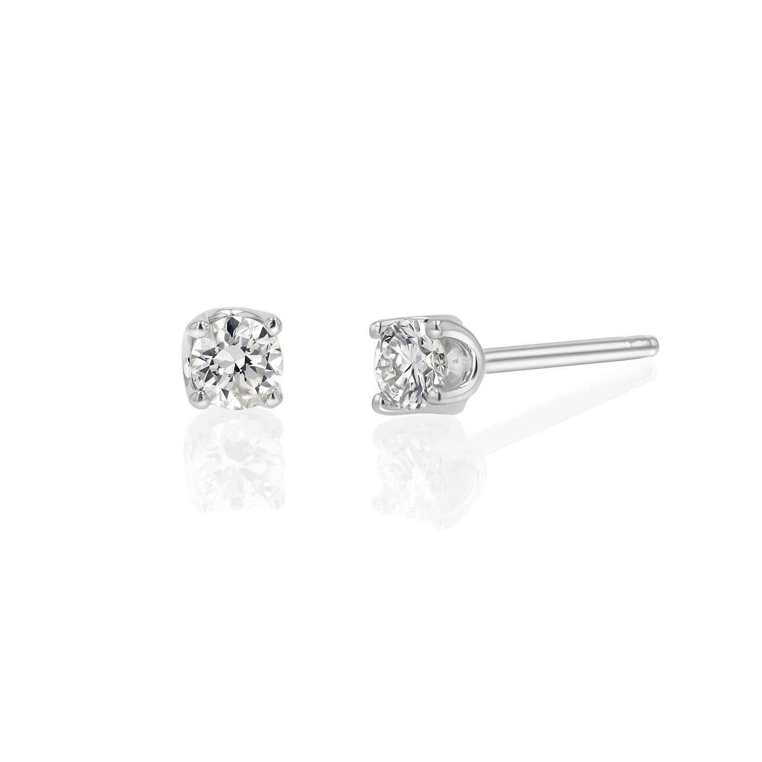 14K Gold Solitaire Studs