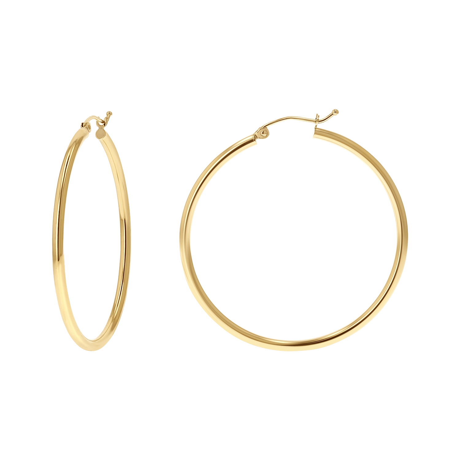2mm Gold Tube Hoop Earrings