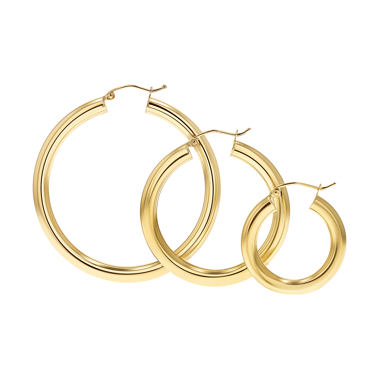 4mm Gold Tube Hoop Earrings