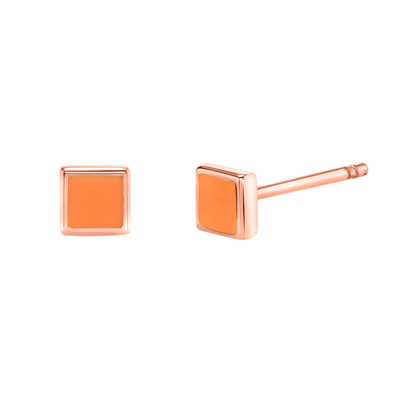 Kids Enamel Square Shape Studs