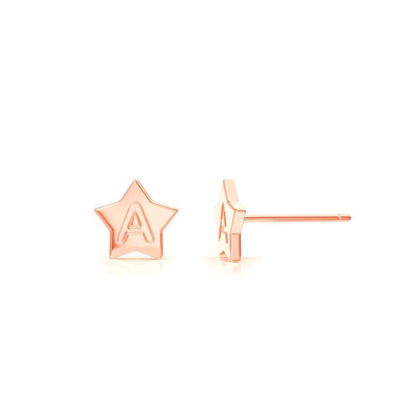 Kids Initial Star Stud Earrings