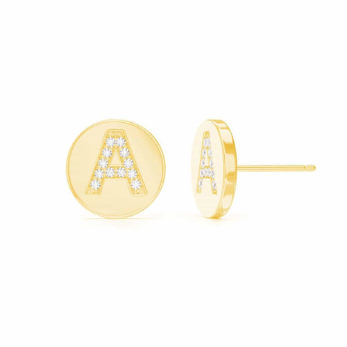 Moyen Pave Initial Earrings
