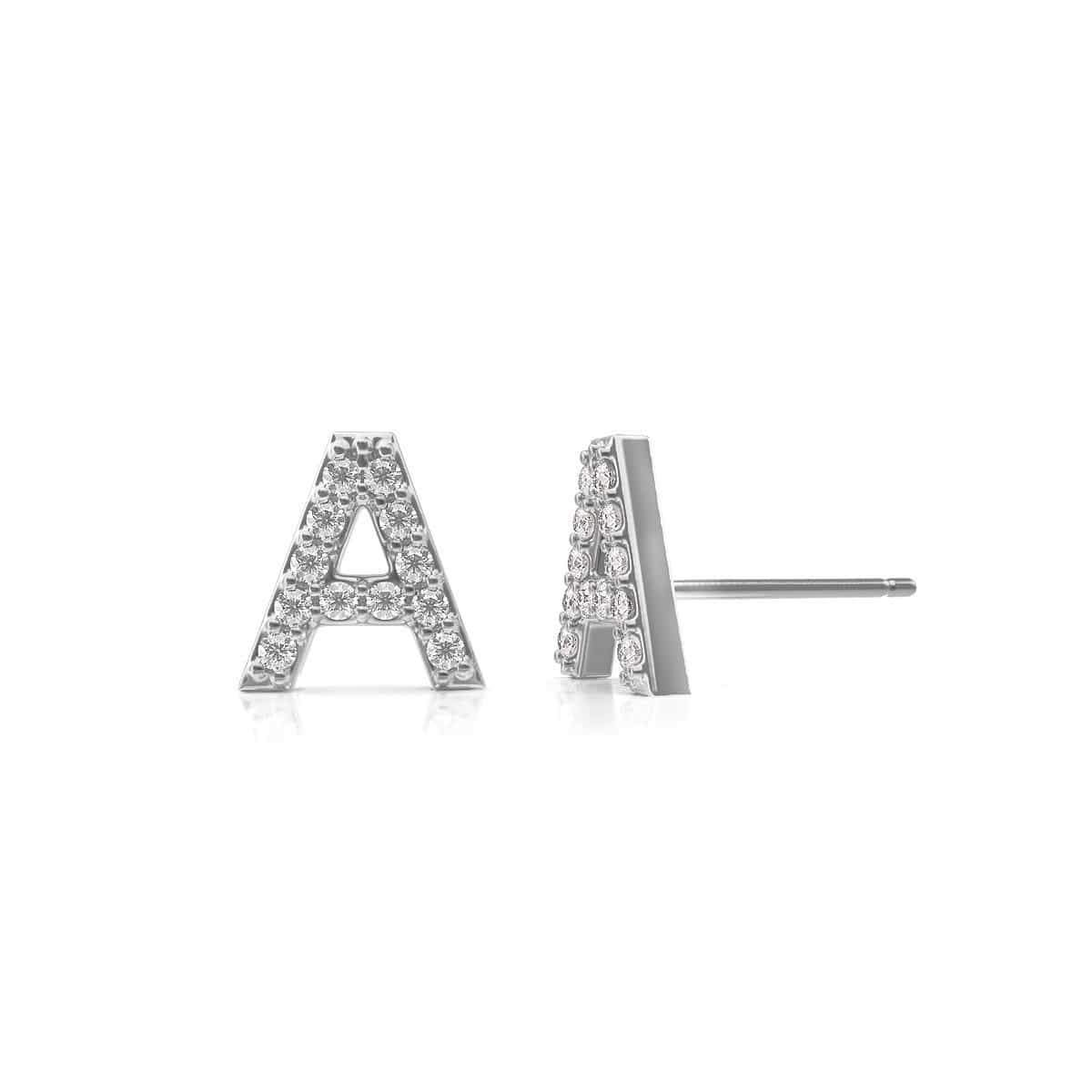 Diamond Pave Letter Stud Earrings