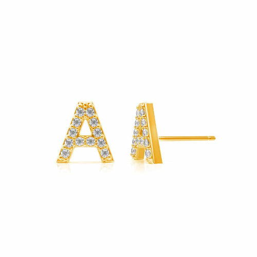 Moyen Pave Letter Earrings