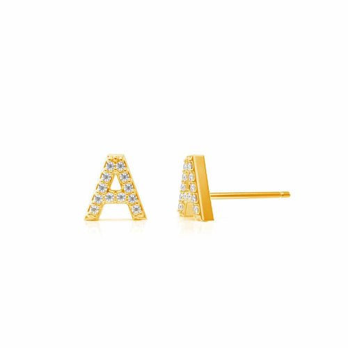 Petit Pave Letter Earrings