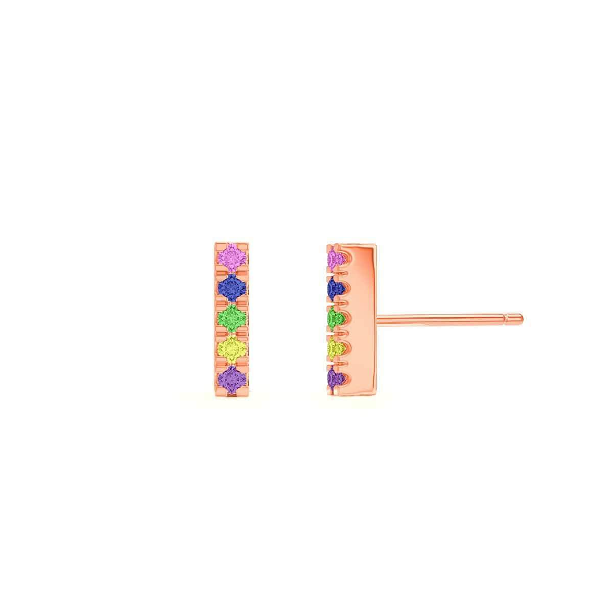 Kids U Pave Petit Rainbow Bar Earrings
