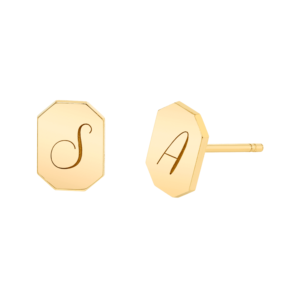 Engravable Initial Tag Earrings