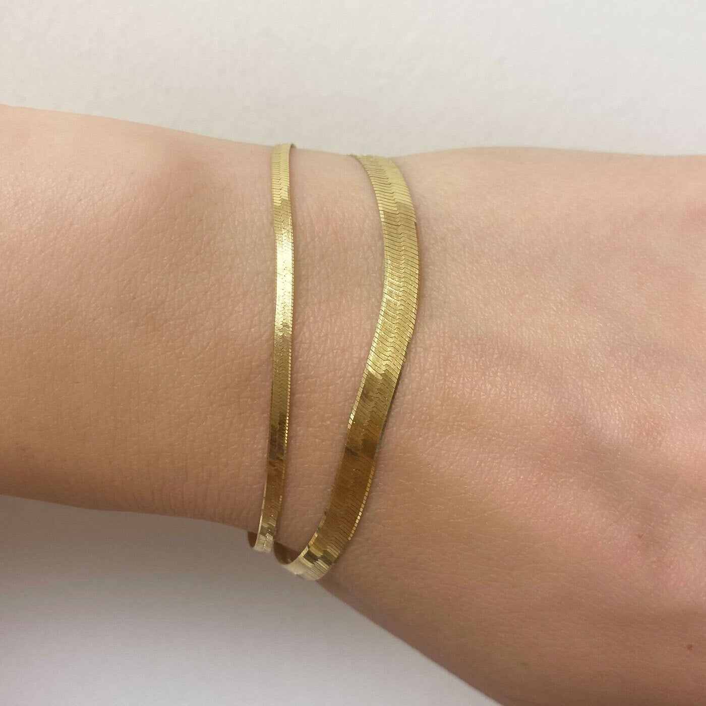 14K Gold Grand Herringbone Bracelet
