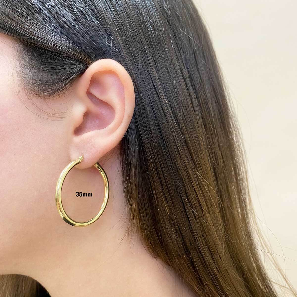 3mm Gold Tube Hoop Earrings